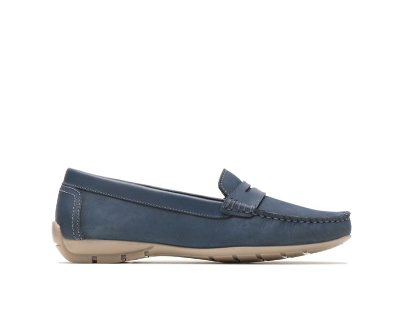 Maelee Penny Loafer, Navy Nubuck, dynamic