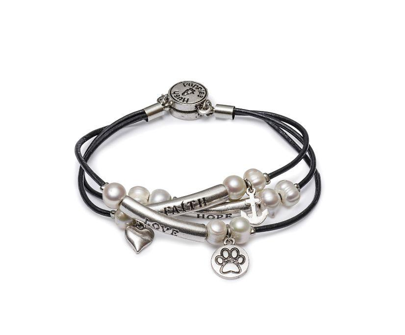 Love/Faith/Hope Bracelet, Black/Silver/Pearl, dynamic
