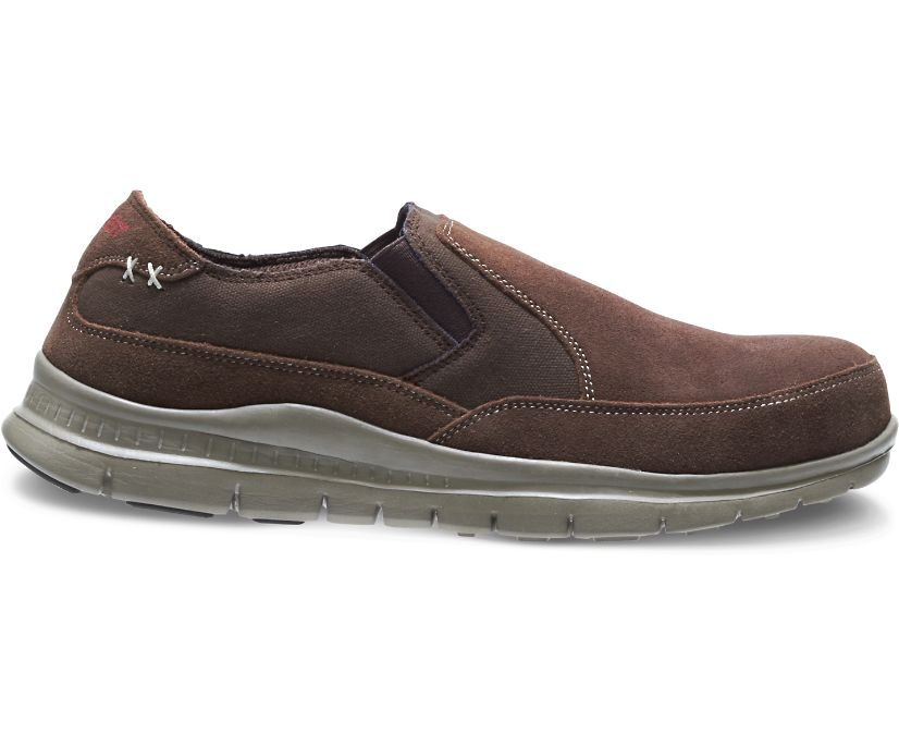 Men's Blake Steel Toe Slip On, Brown, dynamic