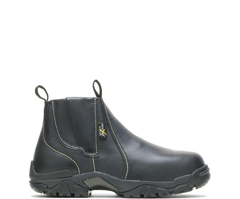 "Apex Metatarsal Guard Steel Toe 6"" Slip On Work Boot, Black, dynamic"