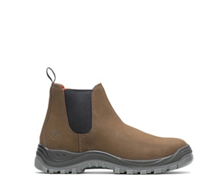 Knox Direct Attach Steel Toe Slip On Work Boot, Brown, dynamic
