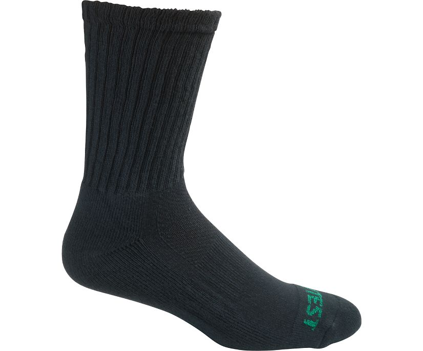 Men's Cotton Crew Sock with Elastic Arch Support, Black, dynamic