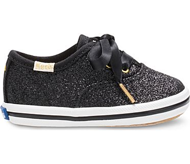 Keds x kate spade new york Champion Glitter Crib Sneaker, Black, dynamic