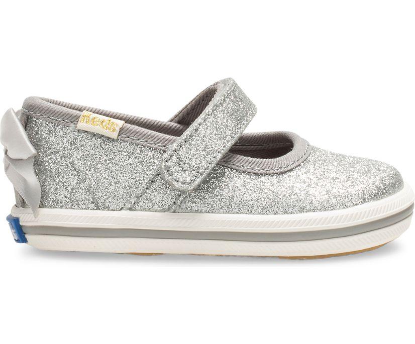 Keds x kate spade new york Sloane MJ Glitter Crib Sneaker, Silver, dynamic