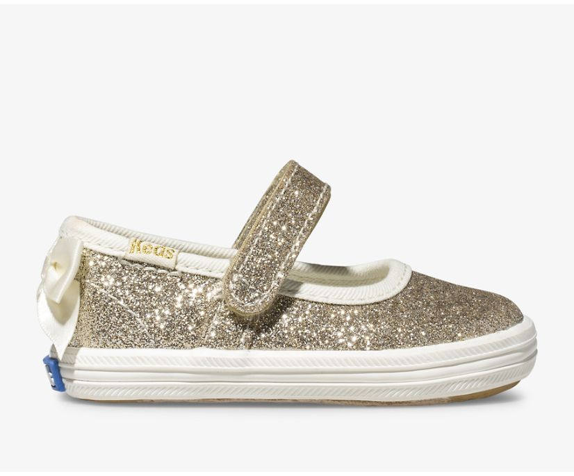 Keds x kate spade new york Sloane MJ Glitter Crib Sneaker, Gold, dynamic