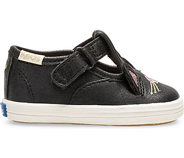 Keds x kate spade new york Cat T-Strap Champion Crib Sneaker, Black Cat, dynamic