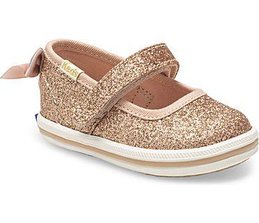 Keds x kate spade new york Sloane MJ Glitter Crib Sneaker, Rose Gold, dynamic
