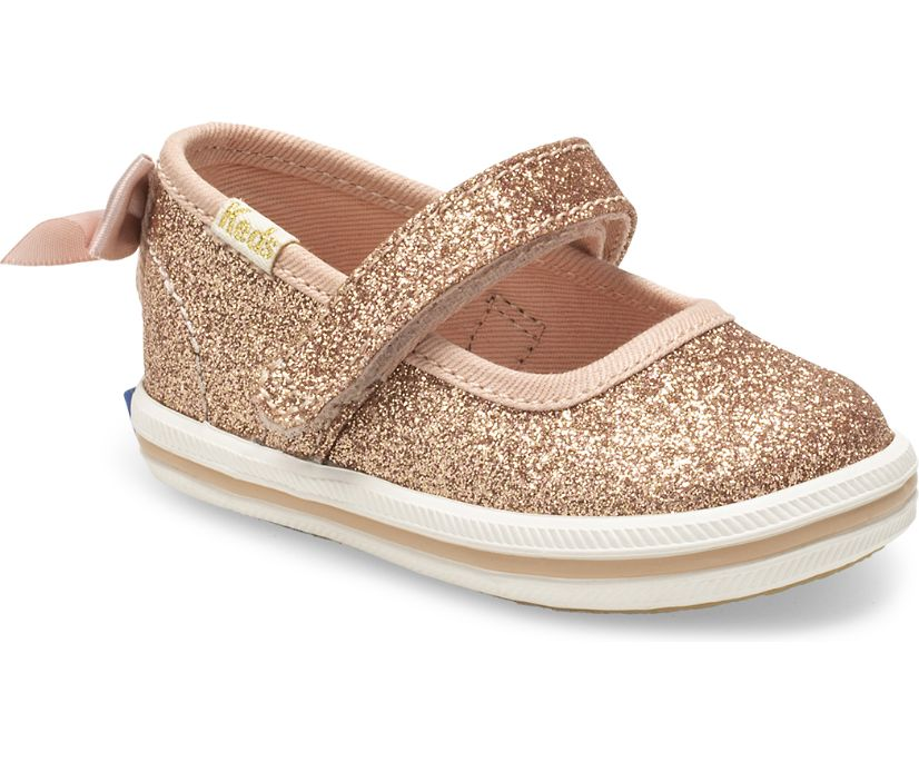 Keds x kate spade new york Sloane MJ Glitter Crib Sneaker, Rose Gold, dynamic