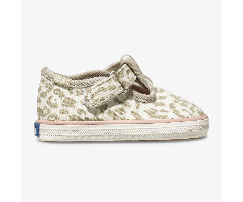 Champion Leopard Toe Cap T-Strap, Snow Leopard, dynamic