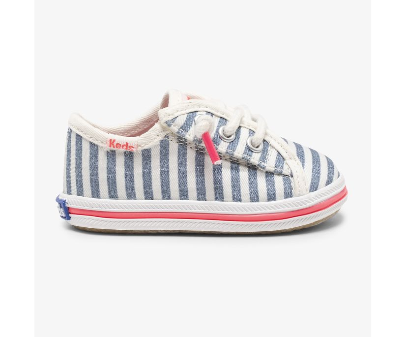 Kickstart Crib Feat. Organic Cotton, Preppy Stripe Blue, dynamic
