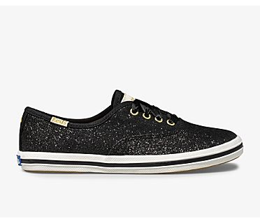 Keds x kate spade new york Champion Glitter Sneaker, Black, dynamic