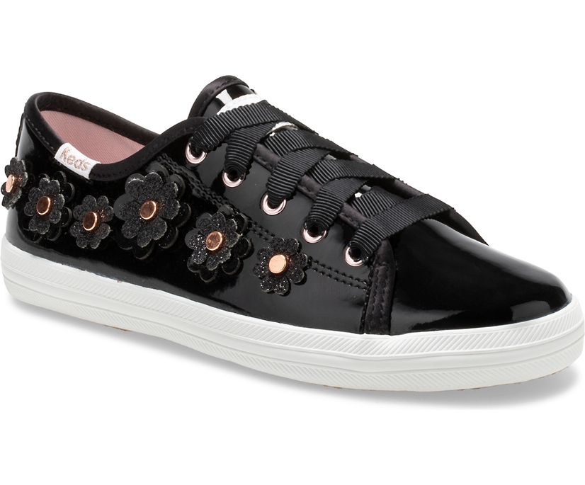 Keds x kate spade new york Kickstart Patent Leather, Black, dynamic