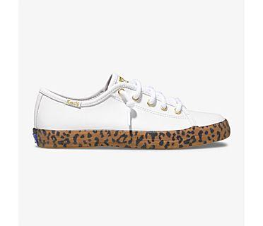 Kickstart Leopard Foxing Sneaker, White, dynamic