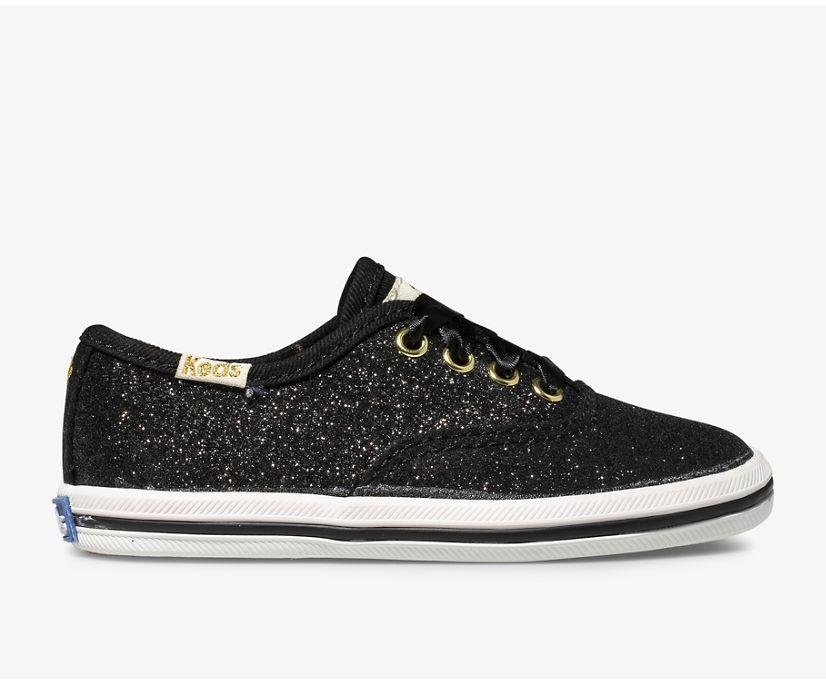 Keds x kate spade new york Champion Glitter Sneaker., Black, dynamic