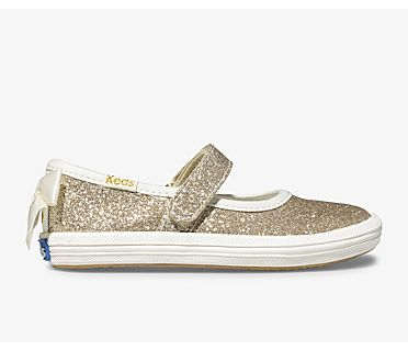 Keds x kate spade new york Sloane MJ Glitter Sneaker, Gold, dynamic