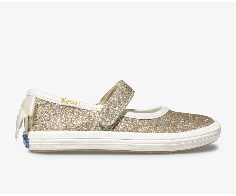 Keds x kate spade new york Sloane MJ Glitter Sneaker, Gold, dynamic