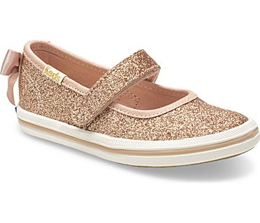 Keds x kate spade new york Sloane MJ Glitter Sneaker, Rose Gold, dynamic