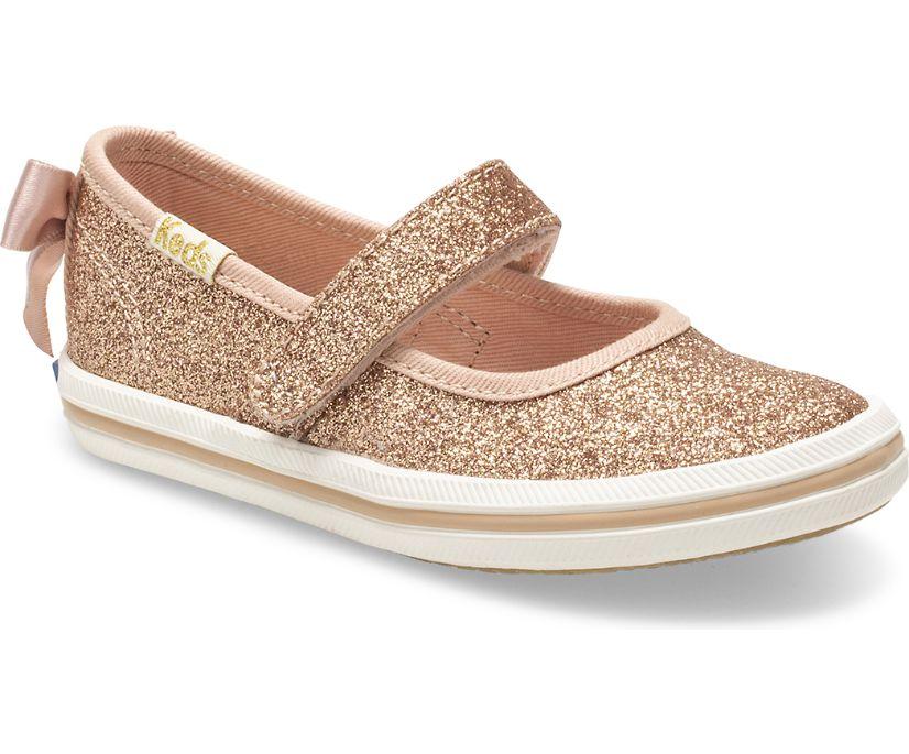 Keds x kate spade new york Sloane MJ Glitter Sneaker, Rose Gold, dynamic