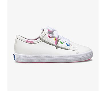 Kickstart Multi-color Eyelets Sneaker Jr., White, dynamic