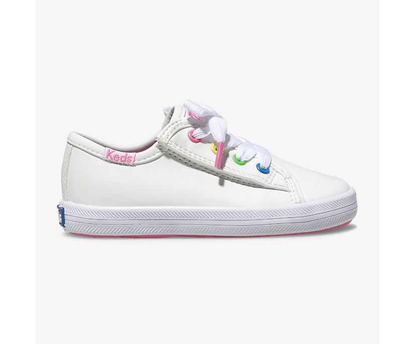Kickstart Multi-color Eyelets Sneaker Jr., White Multi, dynamic