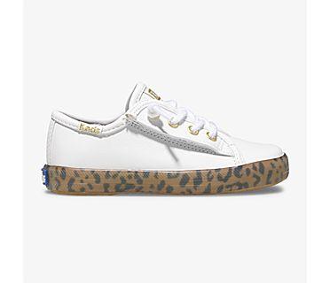 Kickstart Leopard Foxing Sneaker Jr., White Leopard, dynamic