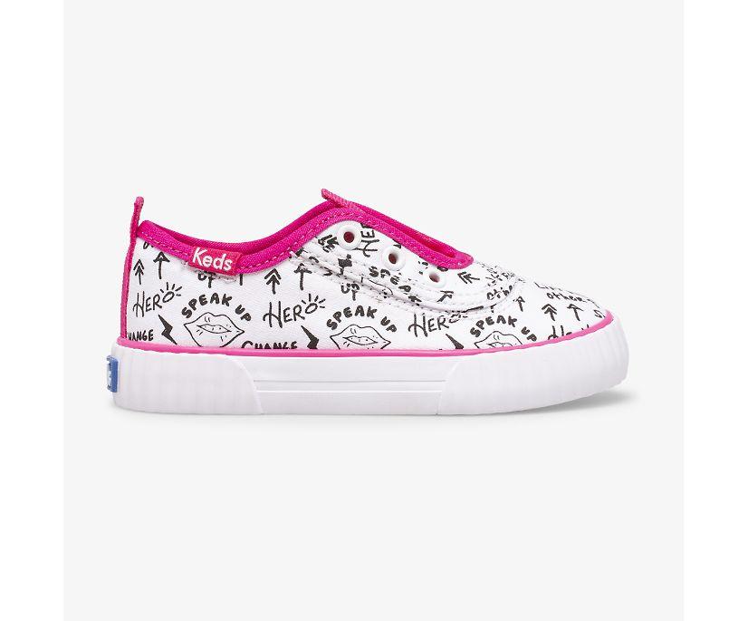 Topkick Washable Slip On Jr, White/Pink, dynamic