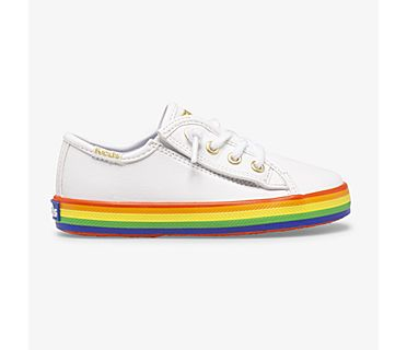 Kickstart Leather Jr Rainbow, White/Rainbow, dynamic
