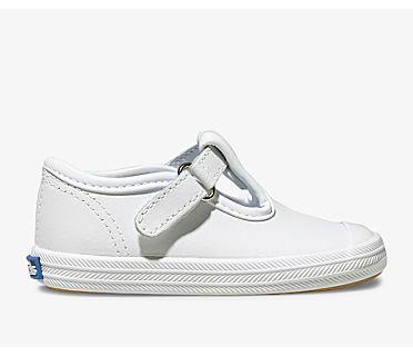 Champion Toe Cap T-Strap, White Leather, dynamic