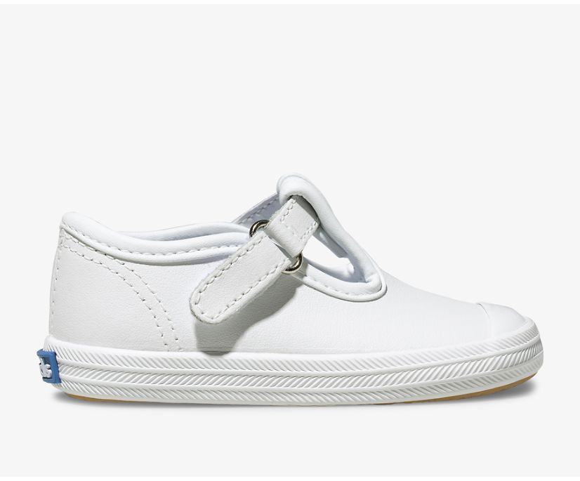 Champion Toe Cap T-Strap, White Leather, dynamic
