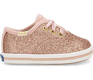 Keds x kate spade new york Champion Glitter Crib Sneaker, Rose Gold, dynamic