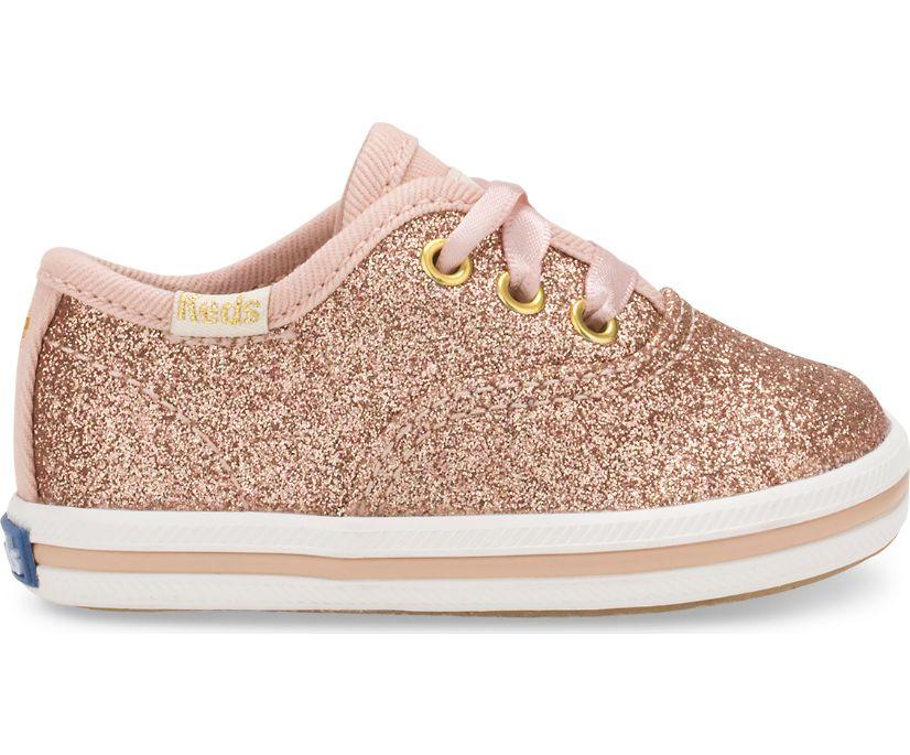 Keds x kate spade new york Champion Glitter Crib Sneaker, Rose Gold, dynamic