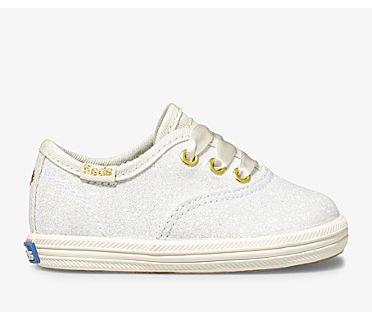 Keds x kate spade new york Champion Glitter Crib Sneaker, Cream, dynamic