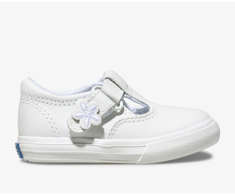 Daphne T-Strap Leather Sneaker, White, dynamic
