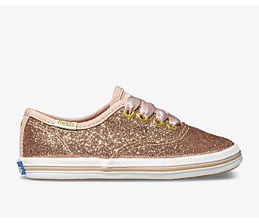 Keds x kate spade new york Champion Glitter Sneaker, Rose Gold, dynamic