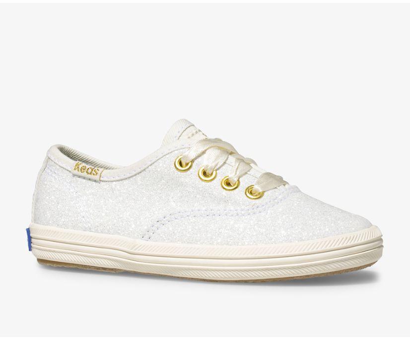 Keds x kate spade new york Champion Glitter Sneaker, Cream, dynamic