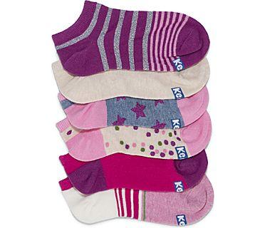 Kids Ankle Socks, Hot Pink Stars & Stripes, dynamic