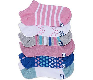Kids Ankle Socks, Light Pink Dots & Stripes, dynamic