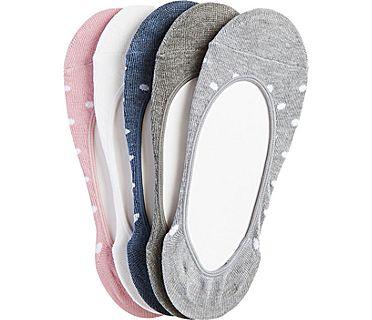5 Pk Extra Low Cut Liner Socks, Grey Asst., dynamic