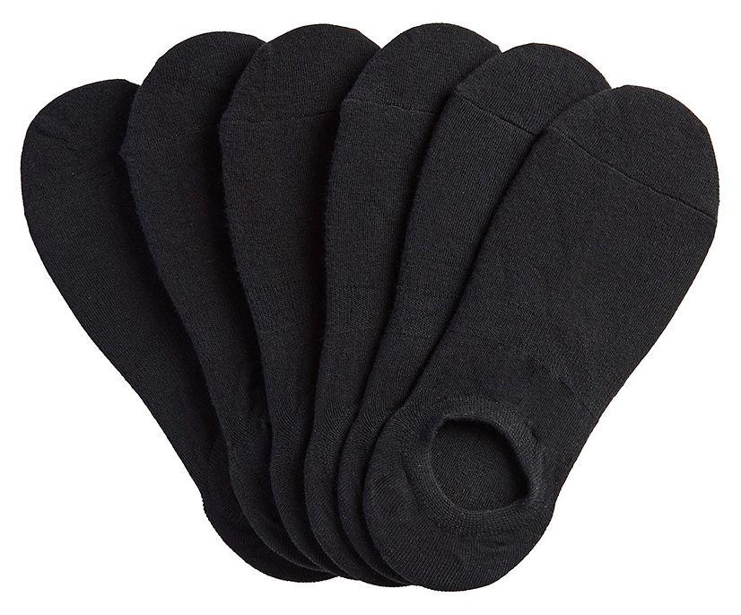 6 Pk High Cut Liner Socks, Black, dynamic