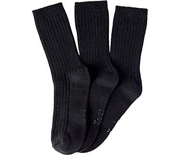 3 Pk Crew Boot Socks, Black, dynamic