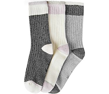 3 Pk Crew Boot Socks, Grey Asst, dynamic