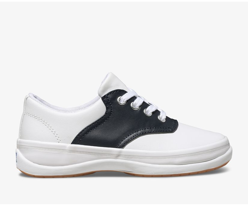 School Days Sneaker, White / Classic Navy, dynamic