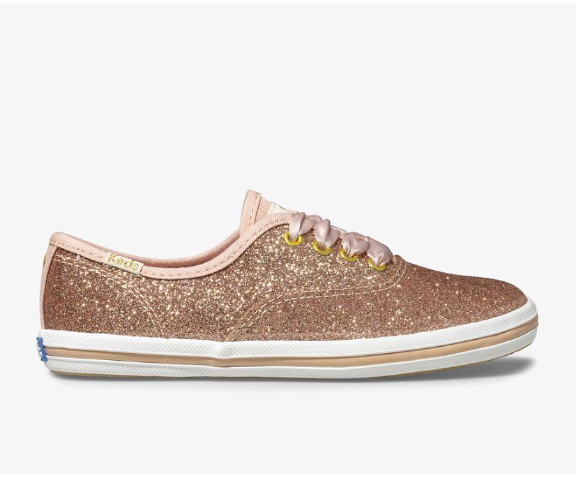 Keds x kate spade new york Champion Glitter Sneaker, Rose Gold, dynamic
