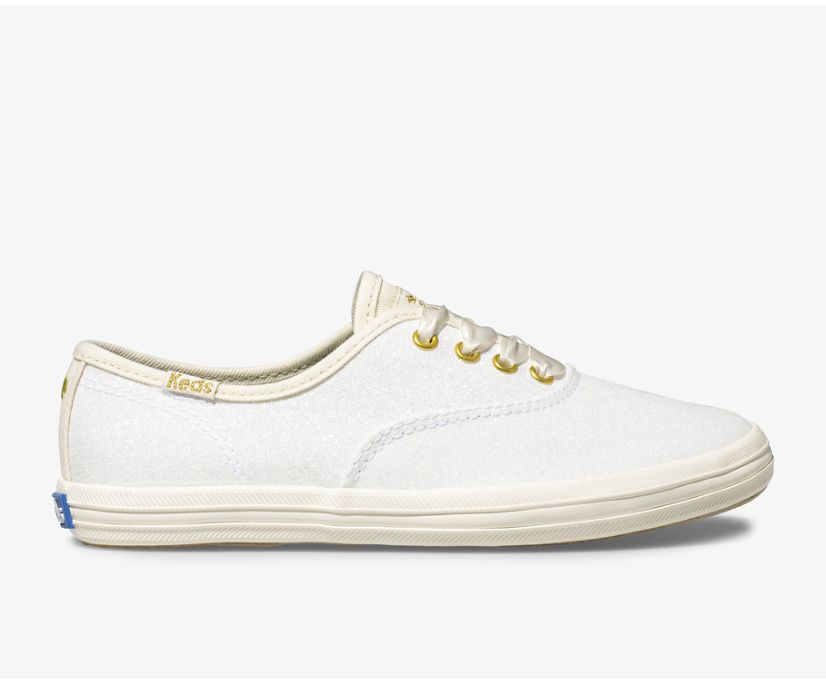 Keds x kate spade new york Champion Glitter Sneaker, Cream, dynamic