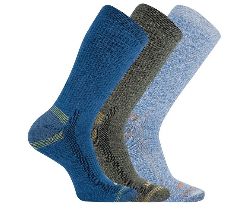 Repreve® Hiker Crew Sock 3-Pack, Blue, dynamic