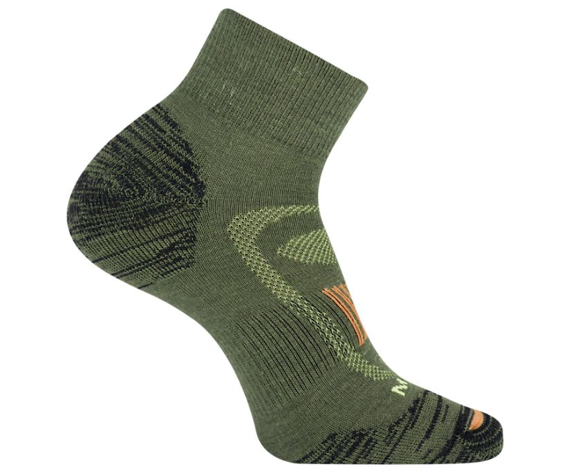 Zoned Quarter Hiker Sock, Moss, dynamic