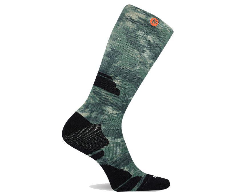 Camo Printed Crew Sock, Green, dynamic