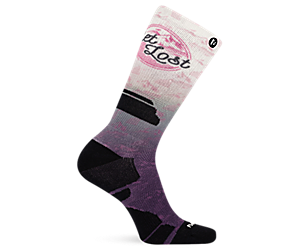 Get Lost Printed Crew Sock, Purple, dynamic