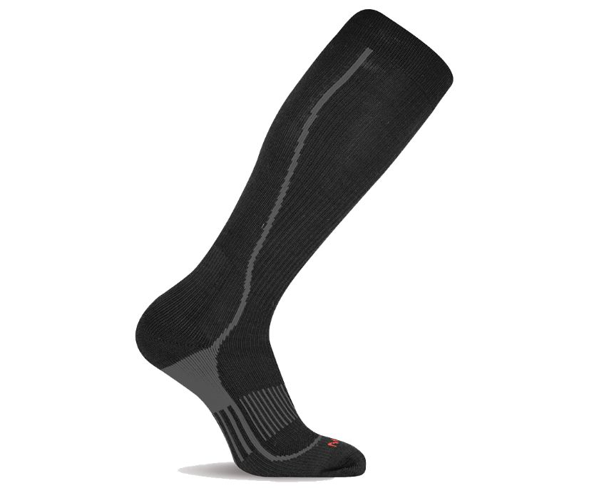 Graduated Compression Hiker Over the Calf Sock, Black, dynamic