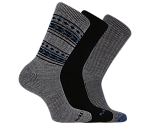 Thermal Crew Sock 3-Pack, Charcoal Heather, dynamic